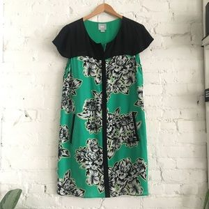 Maeve Green and Black Floral Zip front Dress